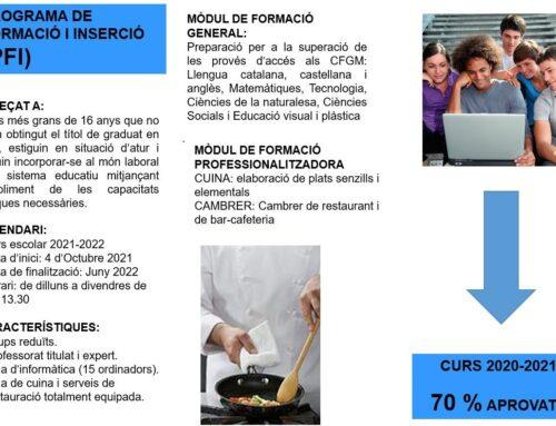 OBERTA LA PRE-INSCRIPCIÓ PFI 2021-2022 A L'ESCOLA PONS